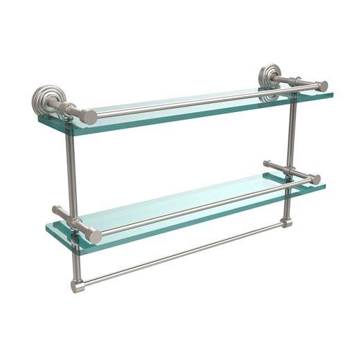 Allied Brass 22 Inch Gallery Double Glass Shelf with Towel Bar, Satin Nickel