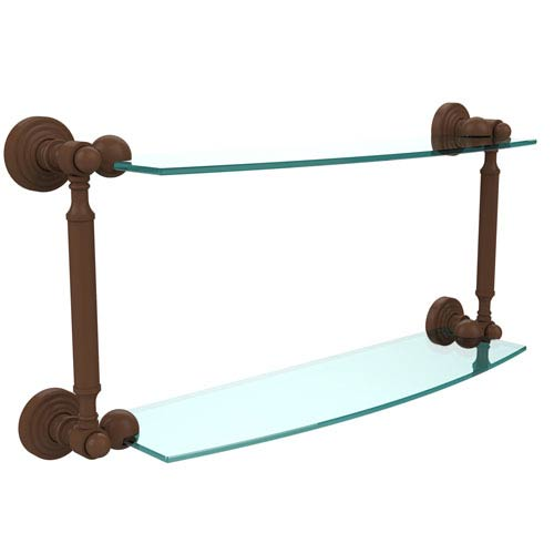 Waverly Place Collection 18 Inch Two Tiered Glass Shelf, Antique Bronze