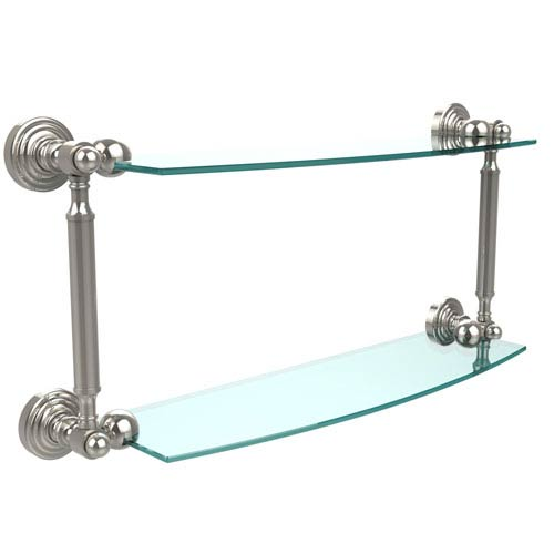 Waverly Place Collection 18 Inch Two Tiered Glass Shelf, Polished Nickel