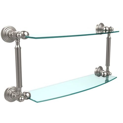 Waverly Place Collection 18 Inch Two Tiered Glass Shelf, Satin Nickel