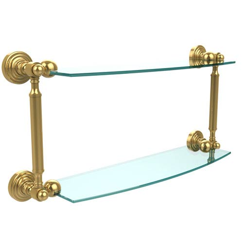 Waverly Place Collection 18 Inch Two Tiered Glass Shelf, Unlacquered Brass