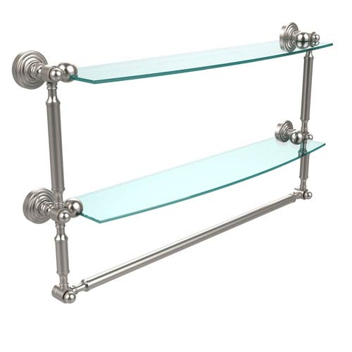 Waverly Place Collection 24 Inch Two Tiered Glass Shelf with Integrated Towel Bar, Satin Nickel