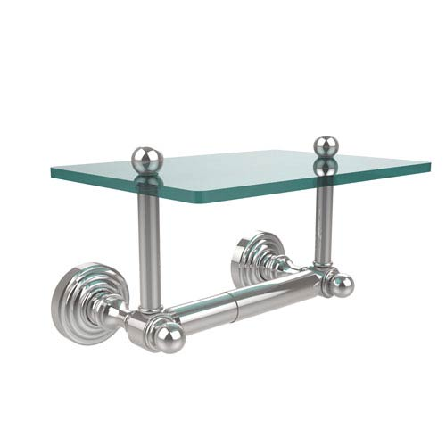 Waverly Place Collection Two Post Toilet Tissue Holder with Glass Shelf, Polished Chrome