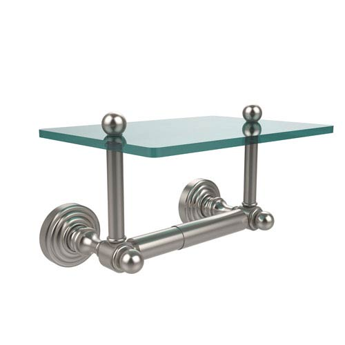 Waverly Place Collection Two Post Toilet Tissue Holder with Glass Shelf, Satin Nickel