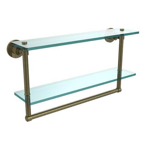 Allied Brass Antique Brass Double Shelf with Towel Bar