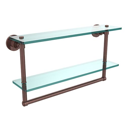 Allied Brass Washington Square Antique Copper Double Shelf with Towel Bar