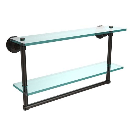 Allied Brass Oil Rubbed Bronze Double Shelf with Towel Bar