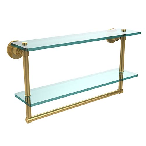 Polished Brass Double Shelf with Towel Bar