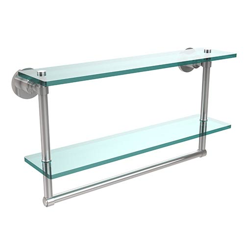 Allied Brass Polished Chrome Double Shelf with Towel Bar