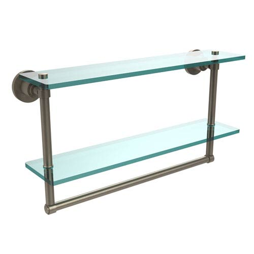 Allied Brass Antique Pewter Double Shelf with Towel Bar