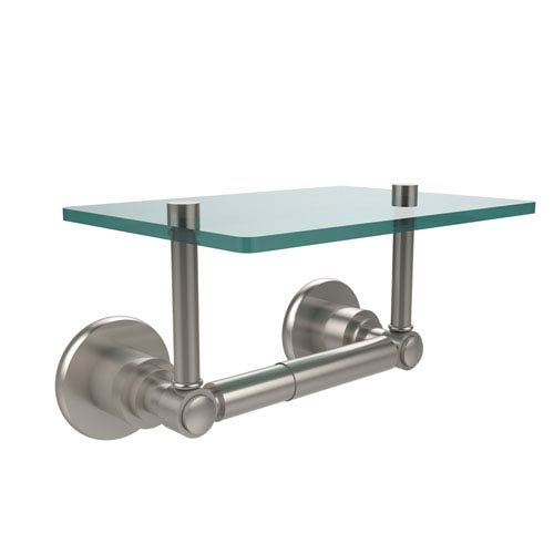 Washington Square Collection Two Post Toilet Tissue Holder with Glass Shelf, Satin Nickel