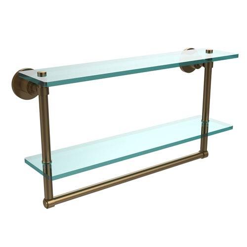 Washington Square Brushed Bronze 22 x 5 Glass Shelf with Towel Bar