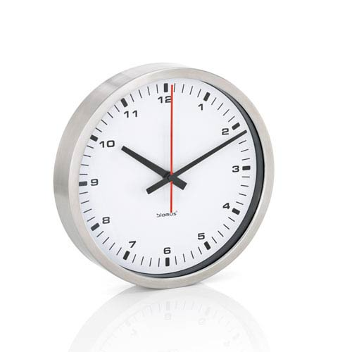 Blomus Era White And Brushed Stainless Steel Wall Clock Small