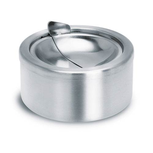 Patty Brushed Stainless Steel Ashtray With Lid