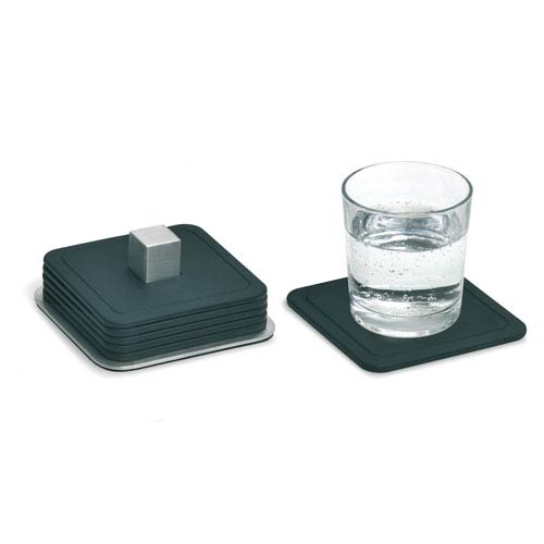 Trayan Black and Stainless Steel Set Six Coasters