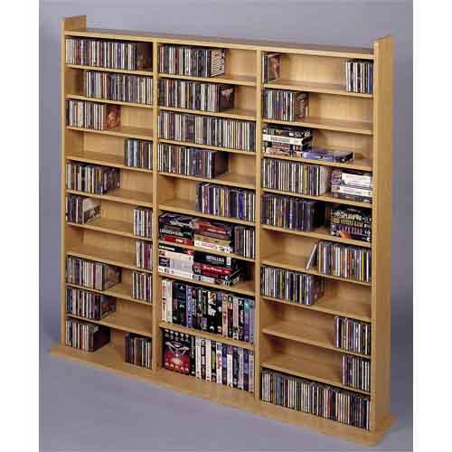 High Capacity Large Oak Multimedia Wall Rack
