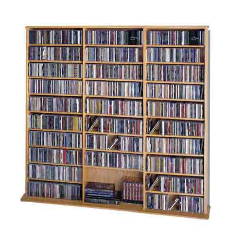 High Capacity Oak Veneer Large Multimedia Wall Rack