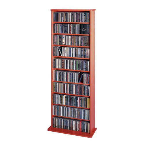 High Capacity Cherry Oak Veneer Small Multimedia Wall Rack