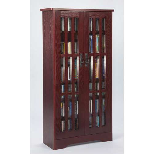 Leslie Dame Enterprises Mission Medium Dark Cherry Multimedia Cabinet  sc 1 st  Bellacor & Cherry Wood Dvd Media Storage Cabinet | Bellacor