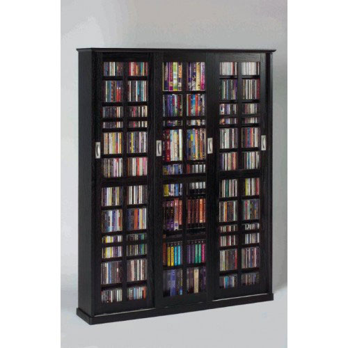 Sliding Door Inlaid Glass Mission Style Black Multimedia Cabinet