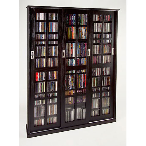 Leslie Dame Enterprises Sliding Door Inlaid Glass Mission Style Espresso Multimedia Cabinet