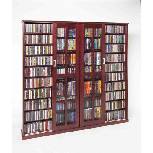 Leslie Dame Enterprises Dark Cherry Sliding Door Inlaid Glass Mission Multimedia Cabinet