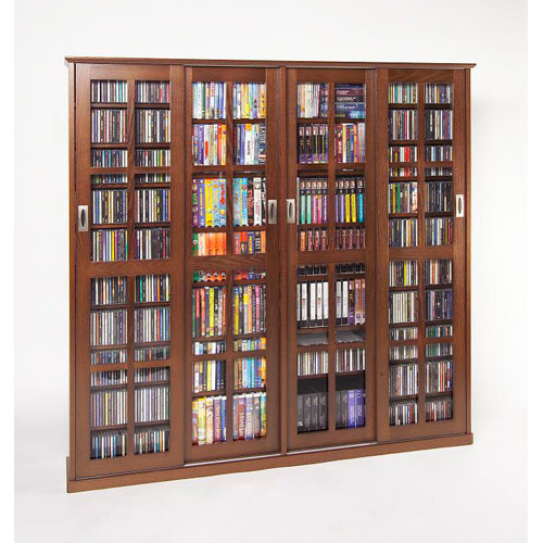 Walnut Sliding Door Inlaid Glass Mission Multimedia Cabinet : dvd media storage cabinets  - Aquiesqueretaro.Com