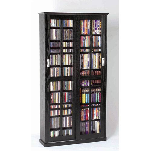 Sliding Door Inlaid Glass Mission Black Cabinet