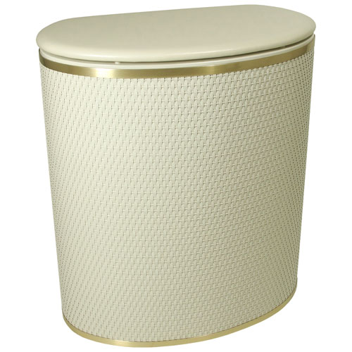 Redmon Company Capri Classic Reflections Cream Bowed Front Hamper with Brushed Gold Trim