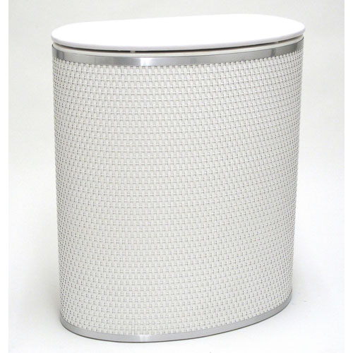 Capri Classic Reflections White Bowed Front Hamper with Silver Trim