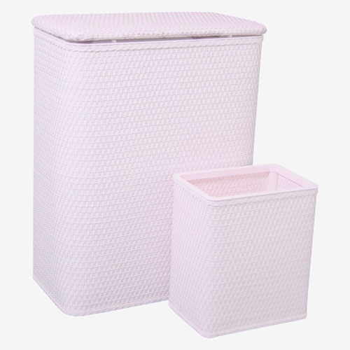 Redmon Company Chelsea Crystal Pink Hamper and Matching Wastebasket Set