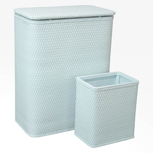 Chelsea Illusion Blue Hamper and Matching Wastebasket Set