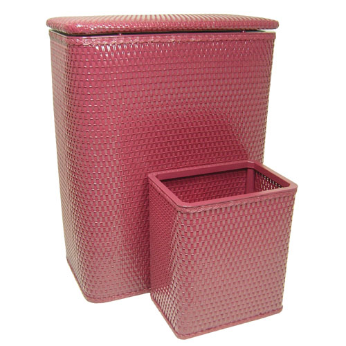Chelsea Raspberry Hamper and Matching Wastebasket Set