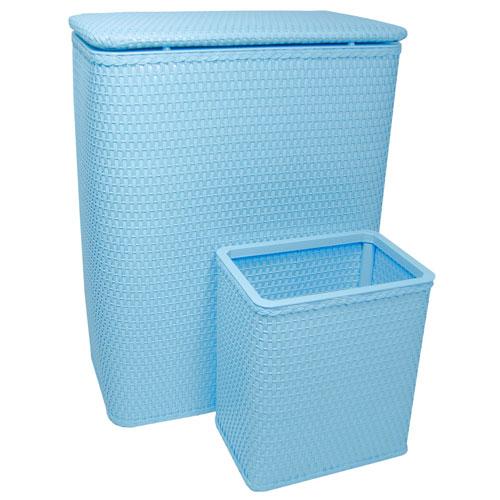 Chelsea Sky Blue Hamper and Matching Wastebasket Set