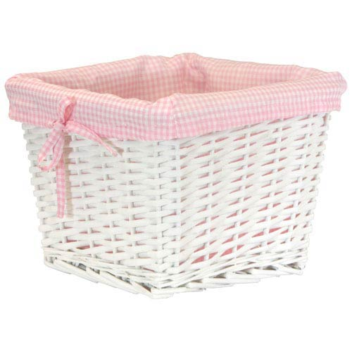 Redmon Company Willow Small White Basket with Pink Liner