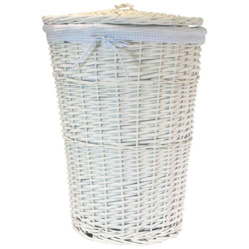 Willow Round White Hamper with Blue Liner