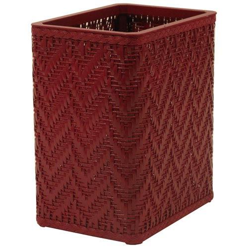 Elegante Raspberry Decorator Color Wicker Wastebasket