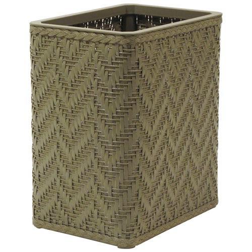 Elegante Sage Green Decorator Color Wicker Wastebasket