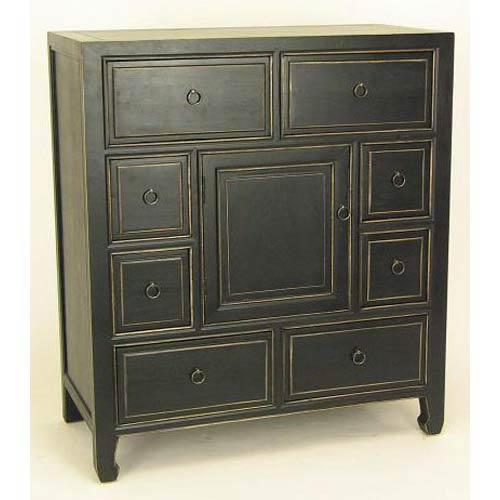 best service 7ded9 7cfbb Wayborn Furniture Black Wood Apothecary Cabinet