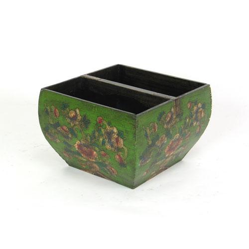 Green Floral Handpainted Bucket