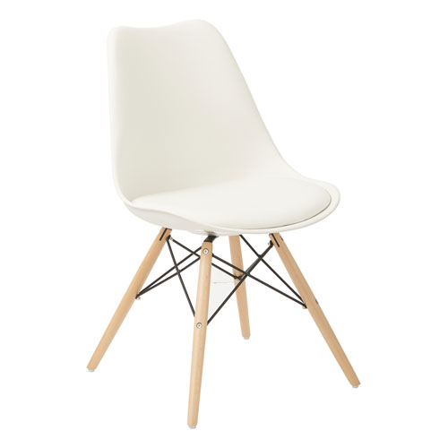 Avenue Six Allen Guest Chair in White with Natural Wood Base