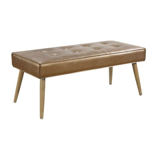 Amity Bench in Sizzle Copper Fabric with Solid Wood Legs