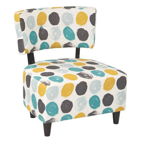 Boulevard Chair Dark Espresso Finished Legs and Dot Peacock Fabric
