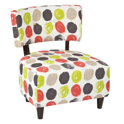 Boulevard Chair with Dark Espresso Finished Legs and Dot Poppy Fabric