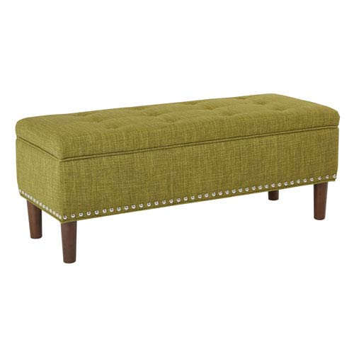 Bryant Bench in Green Fabric with Coffee Tapered Legs and Antique Bronze Nailheads with  Legs