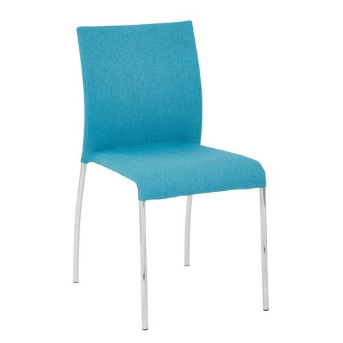 Conway Stacking Chair in Aqua Fabric, 4-Pack