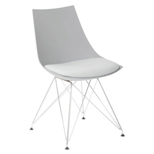 Eiffel Bistro Chair in Medium Grey with Chrome Base, Set of 2