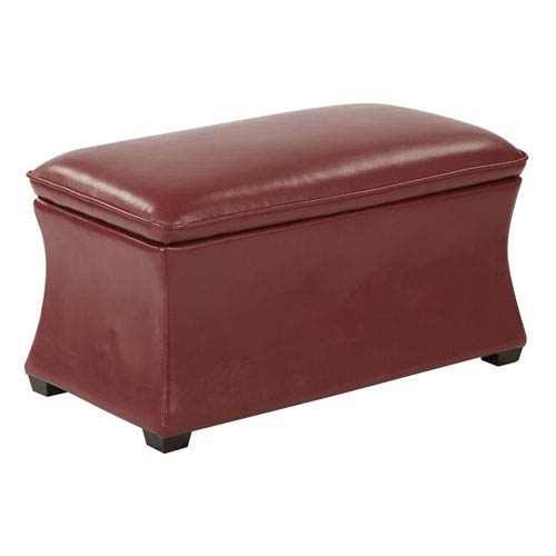 Hourglass Storage Ottoman in Cranberry Bonded Leather