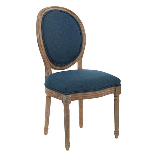 Lillian Oval Back Chair in Klein Azure Brushed Frame