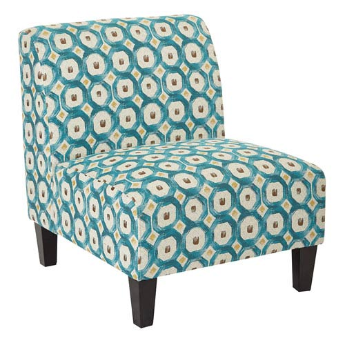Magnolia Accent Chair in Geo Dot Teal Fabric and Solid Wood Legs